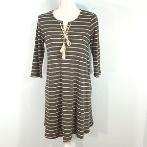 Pretty Sweater Dress with Lace Up Chest Size Large
